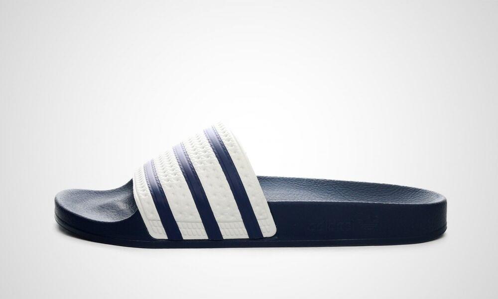 Adidas Adilette (blanc/bleu) Neuf