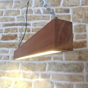Long Led Beam Light Solid Wood Hanging Ceiling Light Bar