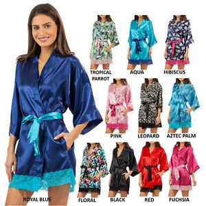 f714fd8e3c Ashford   Brooks Satin Silk Bridesmaid Short Kimono Robe Lace Floral ...