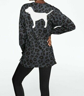 Victoria/'s Secret PINK Bling Long Sleeve Tee /& Leggings Set XS S Black Leopard