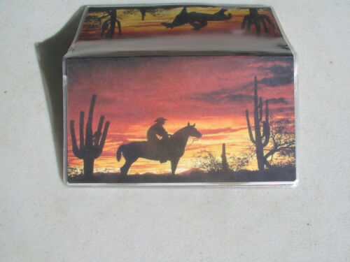 Cowboy in the desert in the sunset Vinyl checkbook cover