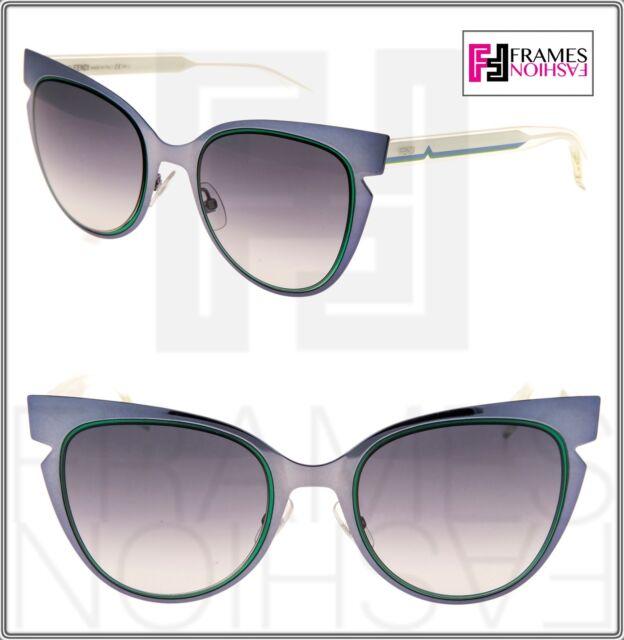 ae0d78cc48b80 FENDI CUTOUT LINES FF0133S Blue Crystal Cream Cat Eye Sunglasses 0133 Women
