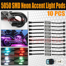 10pc Pod Million Multi-Color RGB Motorcycle Underglow Neon LED Accent Light Kit