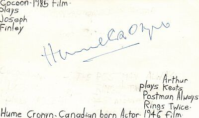 Hume Cronyn Actor Postman Always Rings Twice Movie Autographed Signed Index Card Good Heat Preservation Movies