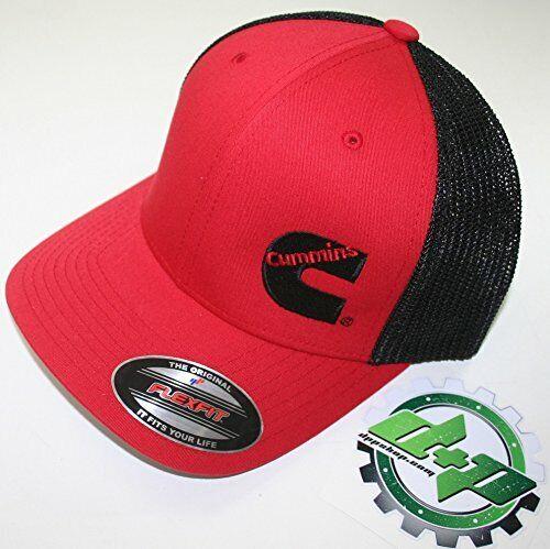 Cummins hat ball cap fitted flex fit  flexfit stretch ram cummings red black