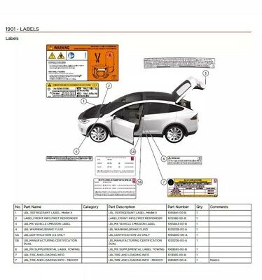 Tesla Model X 2015 2016 2017 2018 Wiring diagram + Parts List + Service  manual | eBayeBay