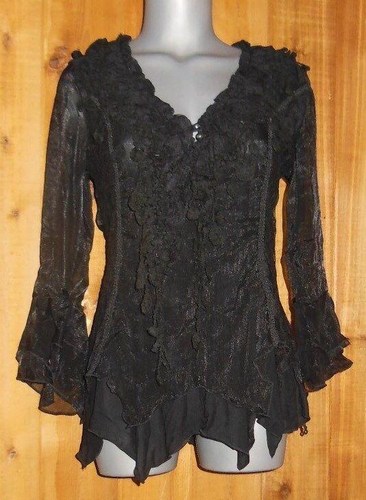 PRETTY ANGEL blouse WRAP SHIRT RUFFLES & LACE S M L XL XXL vintage VICTORIAN BLK
