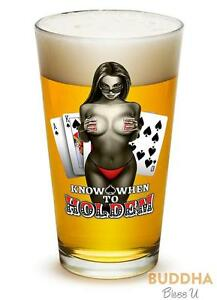 Know-When-To-Hold-Them-Poker-Cards-Chips-Set-of-2-Large-Pint-Glasses-16oz-Dr