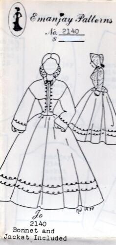 """1:12 scale Emanjay Dollhouse Doll Clothes Pattern #2140 Little Women /""""Jo/"""" //UNCUT"""