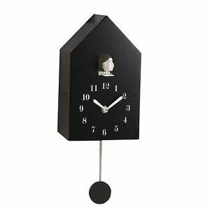 Modern Wooden Cuckoo Wall Clock Auto Night Shut Off New