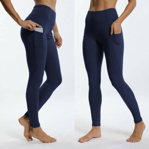 Women High Waisted Yoga Leggings Pocket Pants Fitness Sport Gym Workout Athletic