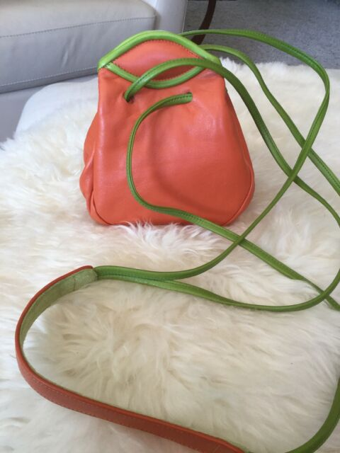 d0bc67300911 JO ANN PAGE Vintage leather mini Drawstring handbag, Orange/green Unique,  USA