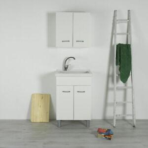 Vasca lavatoio in ceramica con mobile 60x50 Reno Bianco | eBay