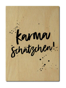 Luxecards Postkarte Aus Holz Karma Schatzchen Yoga Namaste Lustige