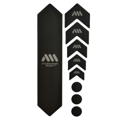 All Mountain Style HONEYCOMB MTB Frame Guard Protection Stickers BLACK//SILVER