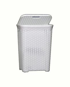 60l Large Rattan Plastic Laundry Bin Washing Bin Multi