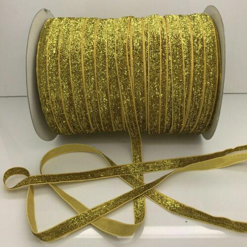 ruban velours scintillant glitter 10mm  couture bijoux décoration 1m ou lot 5m