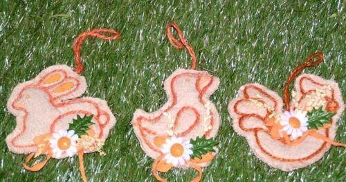 3´er Set Edel Frühjahrsanhänger Figuren im Blumendesigen tolle Osterdeko x 2458