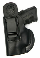 Black Leather Owb Clip-0n Right Hand Holster W/ Comfort Tab - Beretta 84, 85