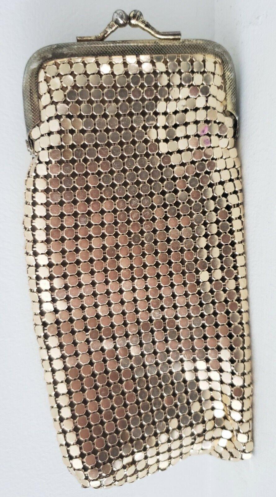 Elka 1950s Gold Tone Mesh Cigarret Pouch Purse Bag