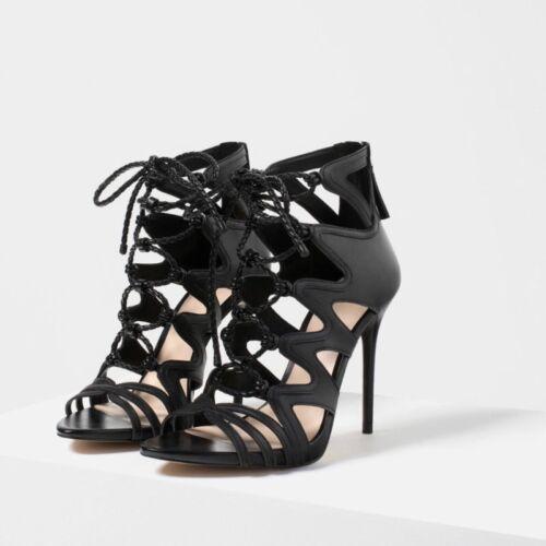 Leder Schwarze hohem Größe Absatz 41 Schnürstiefeletten Zara mit aus g7ndxwttHq