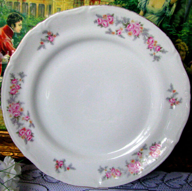 Chodziez Pink Rose Dinner Plate Poland Rose & Gray Fern Leaf  10 1/4