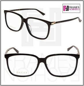 78e539e0c1b Image is loading GUCCI-0295-Black-Gold-Square-RX-Eyeglasses-Optical-