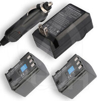 2 Hicap Battery+home Wall Car Charger For Canon Vixia Hg10 Hdd Digital Camcorder