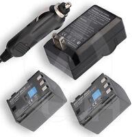 2 Extended Battery+home Wall Car Charger For Canon Elura 65 Minidv Digital Video