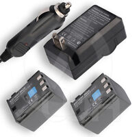2 Extended Hi-cap Battery Pack + Charger For Canon Zr950 Zr960 Minidv Camcorder