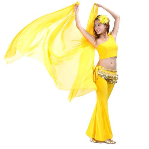 Hot Shiny Soft Belly Dance Wear Chiffon Gold Trim Big Veil Shawl Wrap Scarf