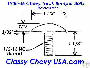 Chevy Truck 1938 1939 1940 1941 1942 1946 Bumper Bolt set NEW Stainless 10p