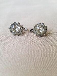Vintage 1930s screwback earrings aquamarine sterling silver 925 earrings blue rhinestone 1930s 1940s earrings