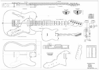 Fender tele thinline 69  Electric Guitar Plans full scale detailed FREE SHIPPING