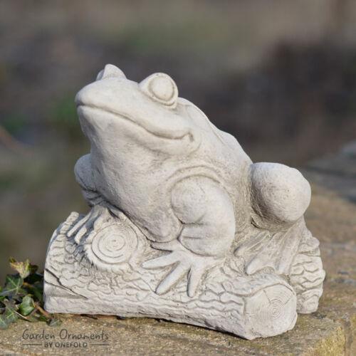 FROG ON LOG Hand Cast Stone Animal Pond Garden Ornament Decor ⧫onefold-uk