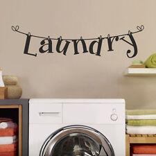 Laundry Wäsche Waschmaschinen Wandtattoo Wallpaper Wand Schmuck 89 x 22 cm