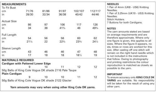 Chaqueta de punto fácil de encaje O Liso Para Mujer Doble Tejer patrón King Cole 5098