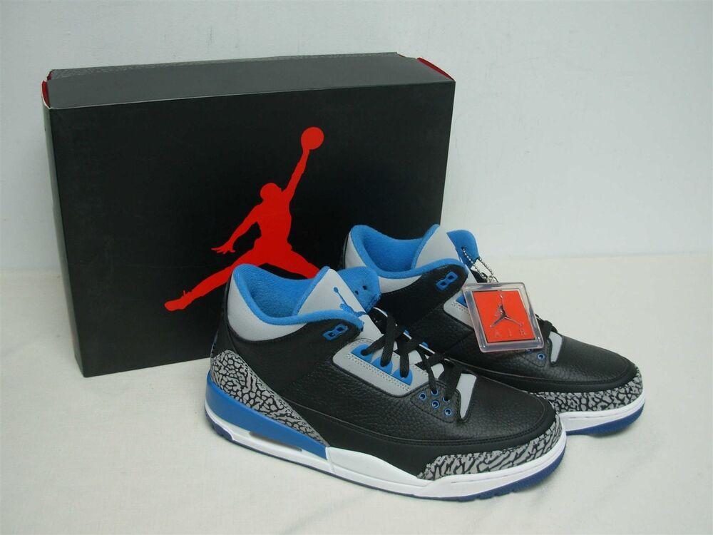 NIKE AIR JORDAN III 3 RETRO Noir BLUE WOLF GREY SNEAKERS 136064 007 MIB  Chaussures de sport pour hommes et femmes