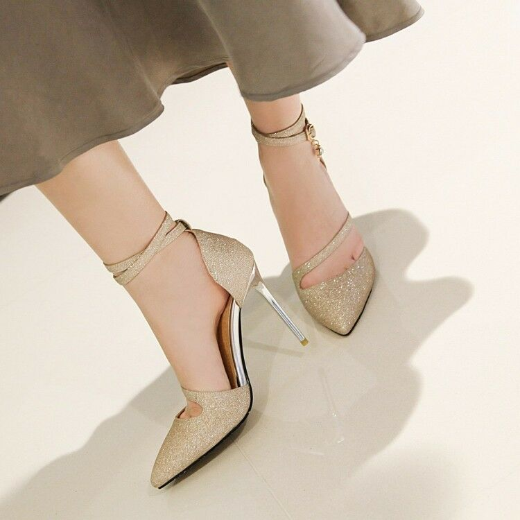 Fashion Ladies High Heels Ankle Strap Pumps Pointed Toe Party Prom shoes UK Size