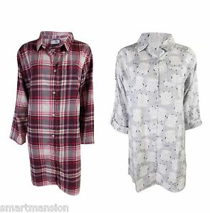 New Ex M S Ladies Cotton Nightshirt Collared Long Sleeves Nightdress ... 73570d20c