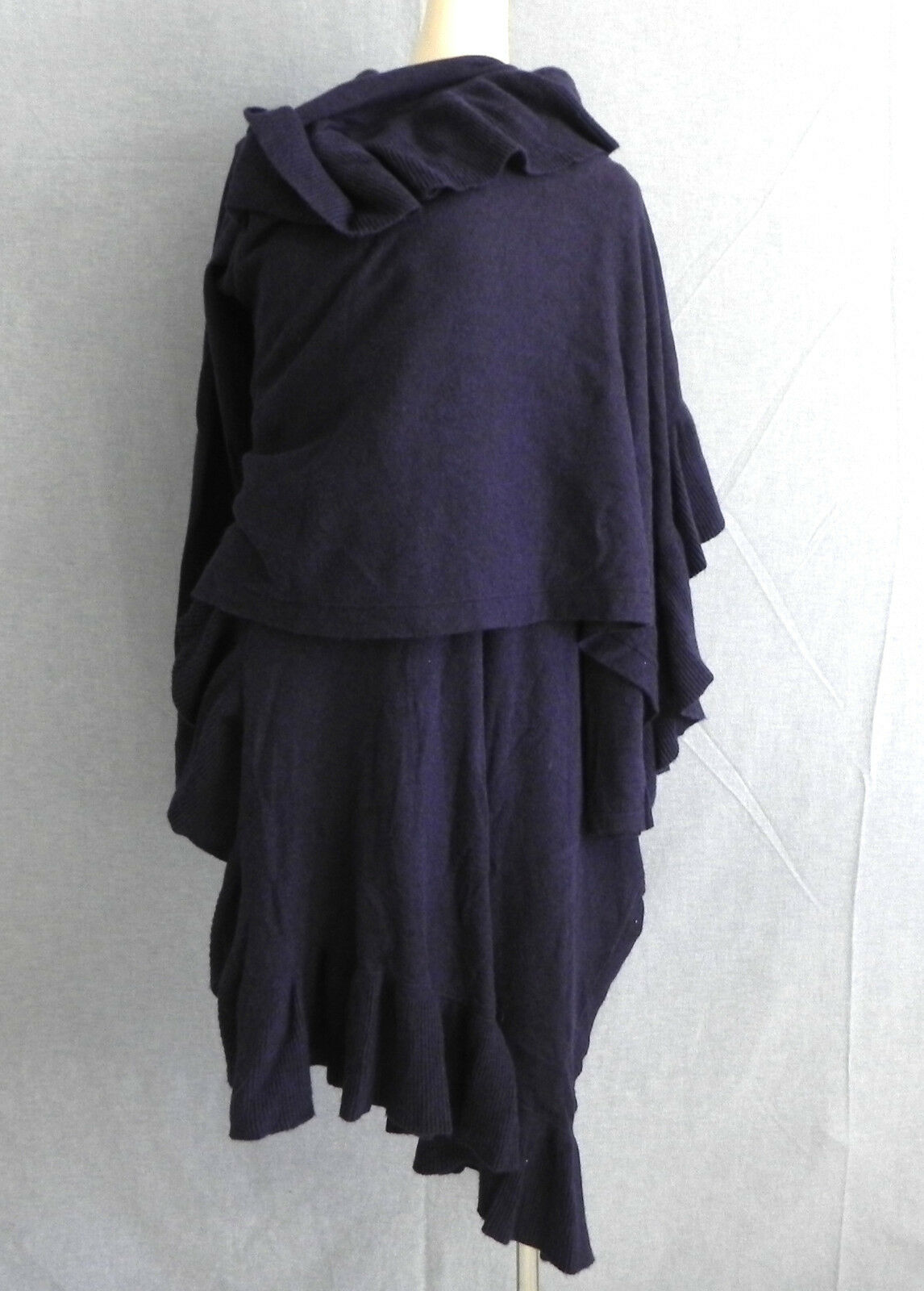 LINE Sweater Wrap Purple Ruffle Viscose, Angora Size S