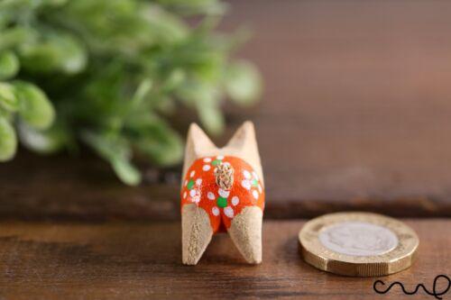 Handcarved Petit en Bois COCHON ORANGE VERT DOT SHORT Farm Animal Cadeau HOME DECO