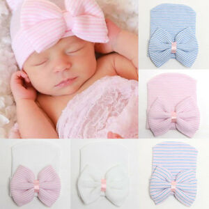 Cute-Newborn-Baby-Infant-Girl-Toddler-Comfy-Bowknot-Hospital-Cap-Warm-Beanie-Hat