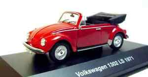 1-43-DeAGOSTONI-1971-VW-VOLKSWAGEN-Super-Beetle-Kafer-1302-LS-Cabriolet-red