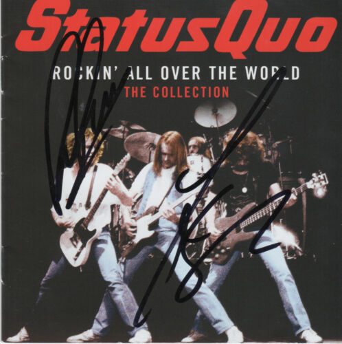 STATUS QUO personally signed CD cover ROCKIN ALL OVER THE WORD ROSSI /& PARFITT