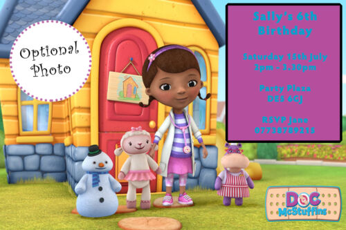Personalised Photo Doc Mcstuffins Birthday Party Invites inc envelopes