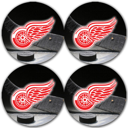 4 pack Detroit Red Wings Hockey Rubber Round Coaster set // RNDRBRCSTR2070