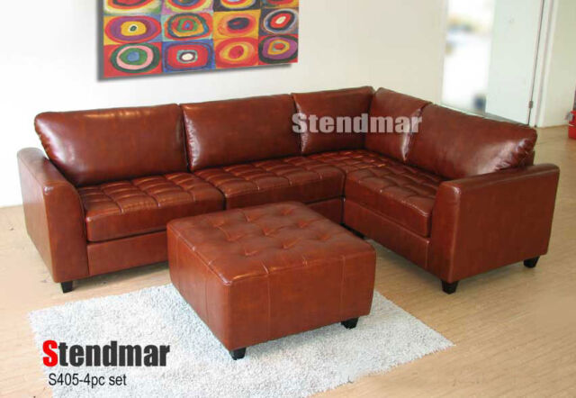 4PC CLASSIC DESIGN LEATHER SECTIONAL SOFA CHAISE S405C