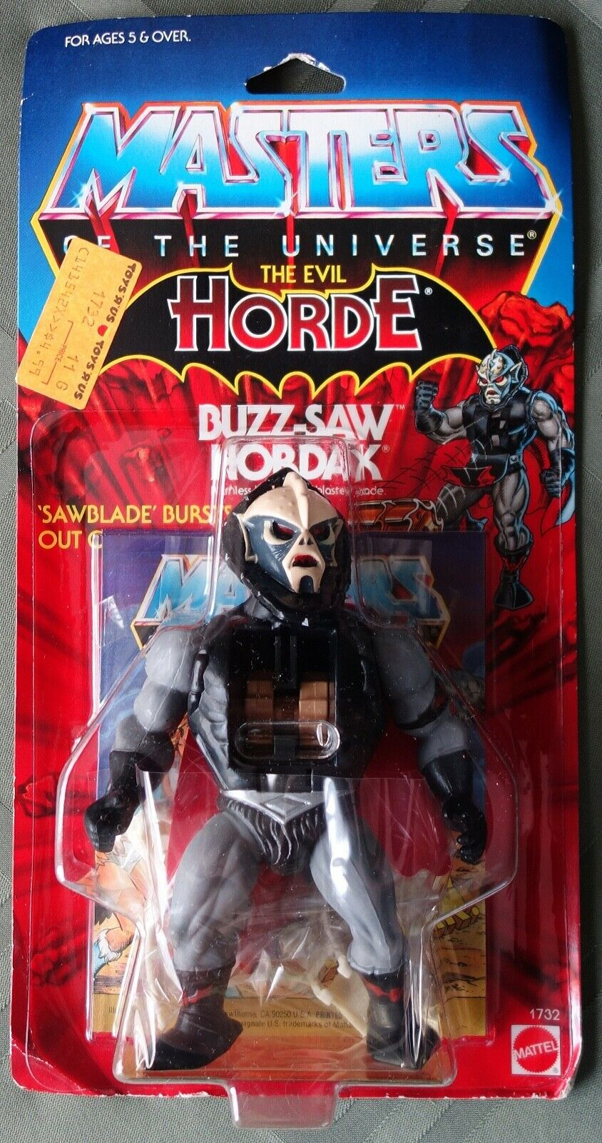 BUZZ-SAW HORDAK  Ruthless Leader with Blaster Blade - 1986 - MOTU - Unopened