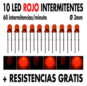 10-x-Led-INTERMITENTE-3-mm-Rojo-resistencias-tutorial-NUEVOS